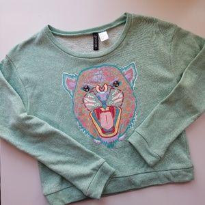 Mint Screen Print Sweater